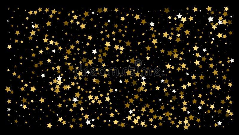 Χρυσά αστέρια Εορτασμός κομφετί διανυσματική απεικόνιση