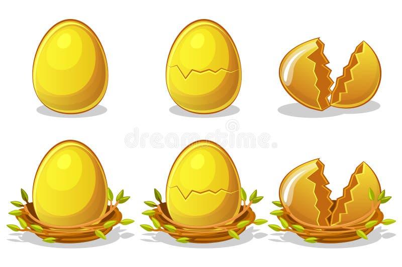Χρυσά αυγά στη φωλιά πουλιών των κλαδίσκων Διανυσματικό σύμβολο Πάσχας Κανονικός, χαλασμένος και σπασμένος ελεύθερη απεικόνιση δικαιώματος