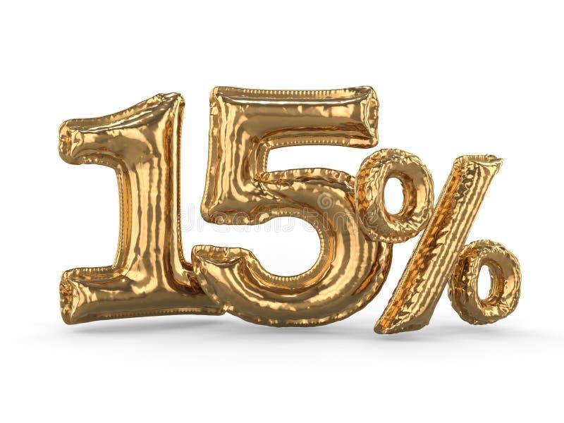 Χρυσά δεκαπέντε τοις εκατό φιαγμένα από διογκώσιμα μπαλόνια Σύνολο τοις εκατό τρισδιάστατος απεικόνιση αποθεμάτων