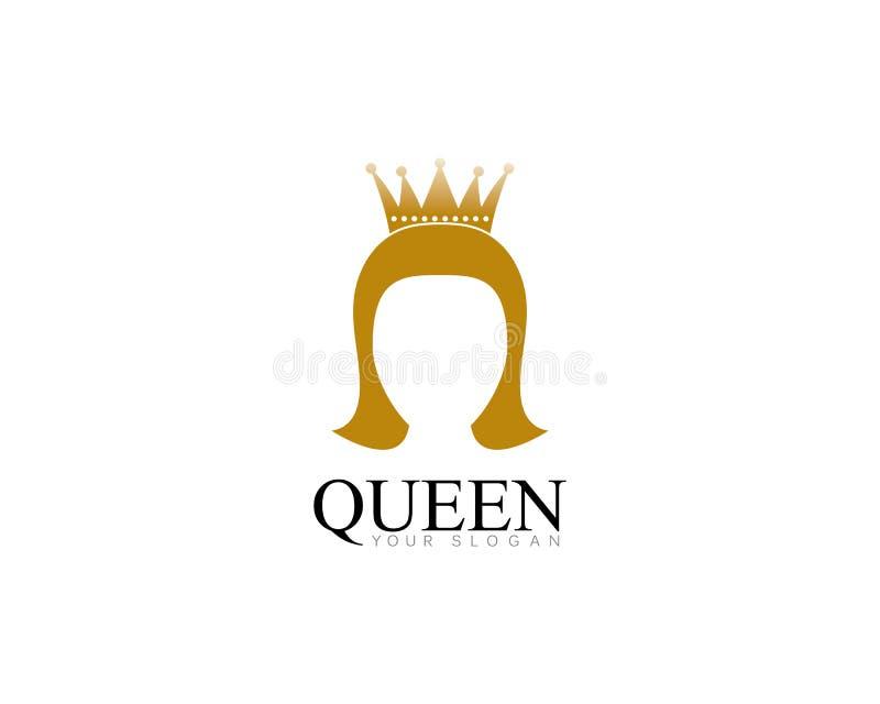 χρυσή βασίλισσα ομορφιάς με το διανυσματικό illsutration λογότυπων προτύπων κορωνών διανυσματική απεικόνιση