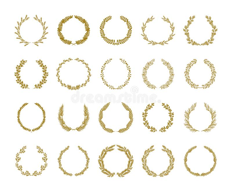 Χρυσή διανυσματική απεικόνιση στεφανιών φυλλώματος δαφνών που τίθεται στο άσπρο υπόβαθρο ελεύθερη απεικόνιση δικαιώματος