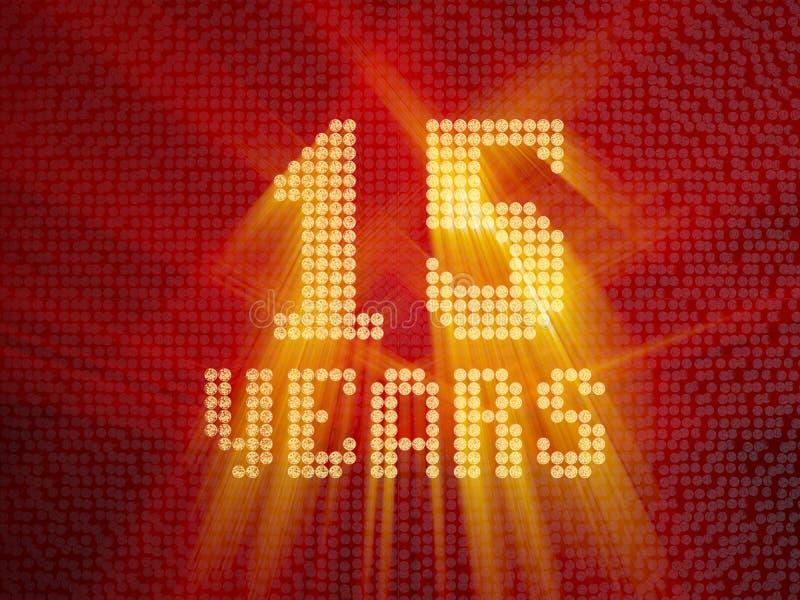 Χρυσός αριθμός δεκαπέντε έτη τρισδιάστατος δώστε ελεύθερη απεικόνιση δικαιώματος