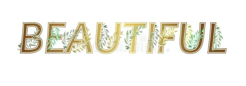 Χρυσός γραφικός όμορφος συνθήματος με τους πράσινους κλάδους για την μπλούζα τυπωμένων υλών επίσης corel σύρετε το διάνυσμα απεικ ελεύθερη απεικόνιση δικαιώματος
