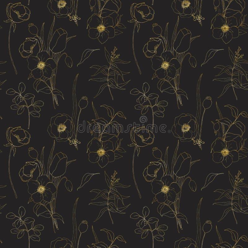 Χρυσό άνευ ραφής σχέδιο anemone σκίτσων στο μαύρο υπόβαθρο Χρωματισμένα χέρι λουλούδια, φύλλα ευκαλύπτων και κλάδος που απομονώνο διανυσματική απεικόνιση