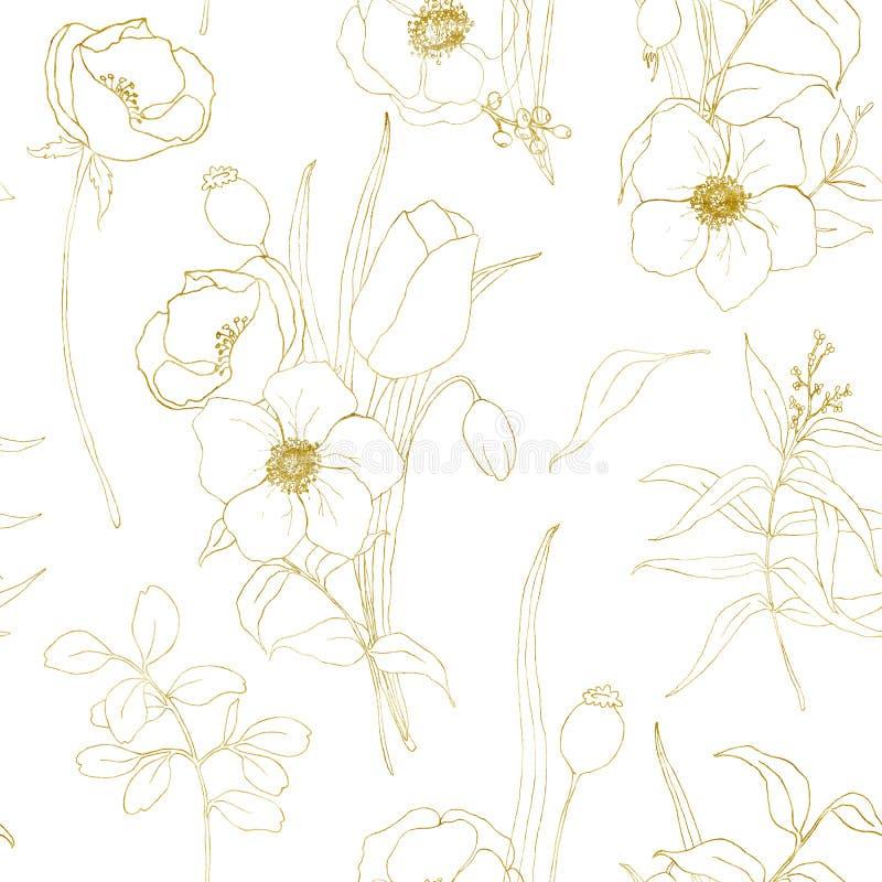 Χρυσό άνευ ραφής σχέδιο anemone σκίτσων Χρωματισμένα χέρι λουλούδια, φύλλα ευκαλύπτων και κλάδος που απομονώνονται στο άσπρο υπόβ ελεύθερη απεικόνιση δικαιώματος