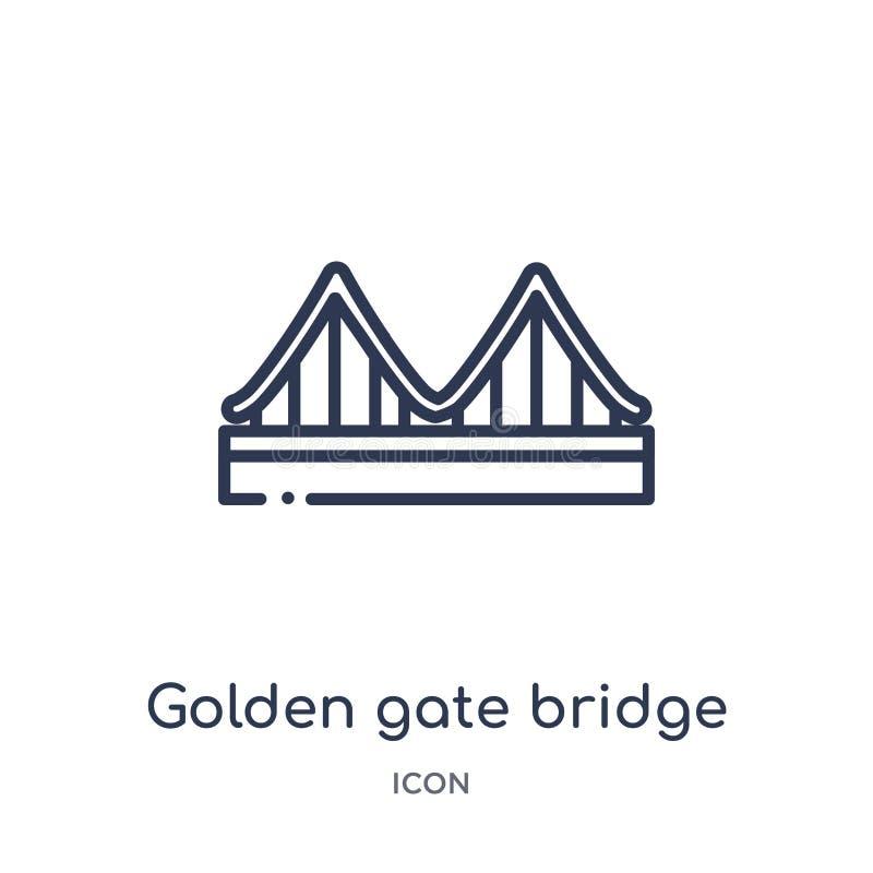 χρυσό εικονίδιο γεφυρών πυλών από τη συλλογή περιλήψεων των Ηνωμένων Πολιτειών της Αμερικής Λεπτό εικονίδιο γεφυρών πυλών γραμμών ελεύθερη απεικόνιση δικαιώματος