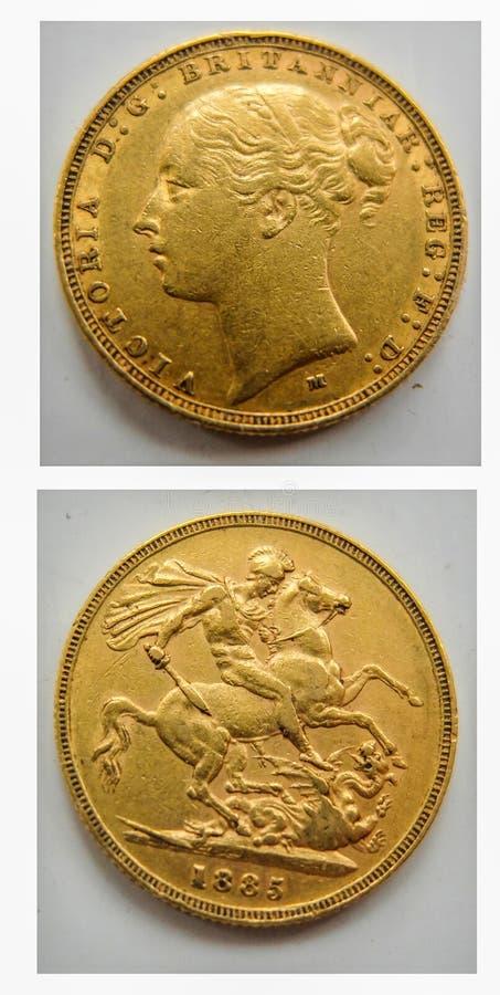 Χρυσό κυρίαρχο νόμισμα 1885, βασίλισσα Victoria στοκ φωτογραφία με δικαίωμα ελεύθερης χρήσης
