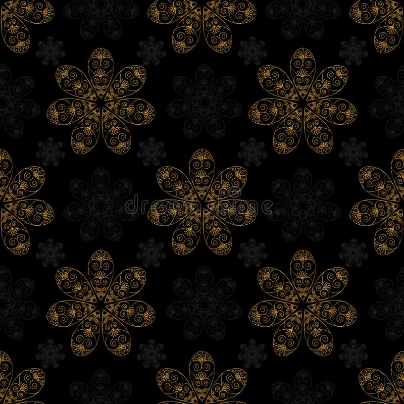Χρυσό μαύρο υπόβαθρο σχεδίων mandala άνευ ραφής ελεύθερη απεικόνιση δικαιώματος