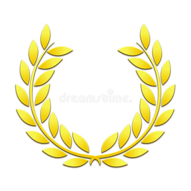 Χρυσό στεφάνι laurels σε ένα άσπρο υπόβαθρο ελεύθερη απεικόνιση δικαιώματος