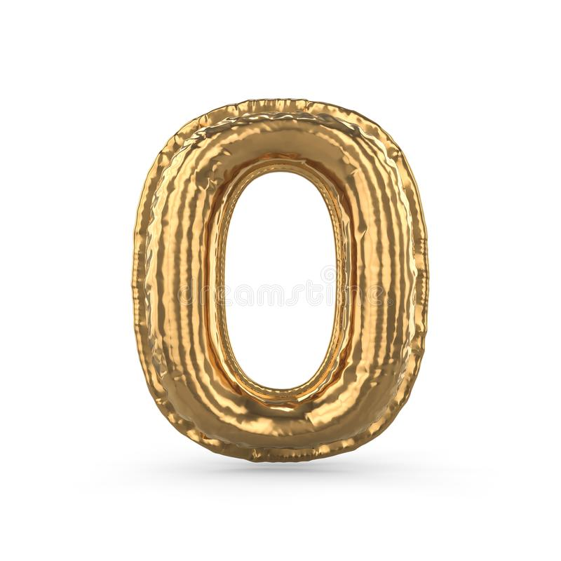 Χρυσό ψηφίο μηδέν φιαγμένο από διογκώσιμο μπαλόνι που απομονώνεται τρισδιάστατος απεικόνιση αποθεμάτων