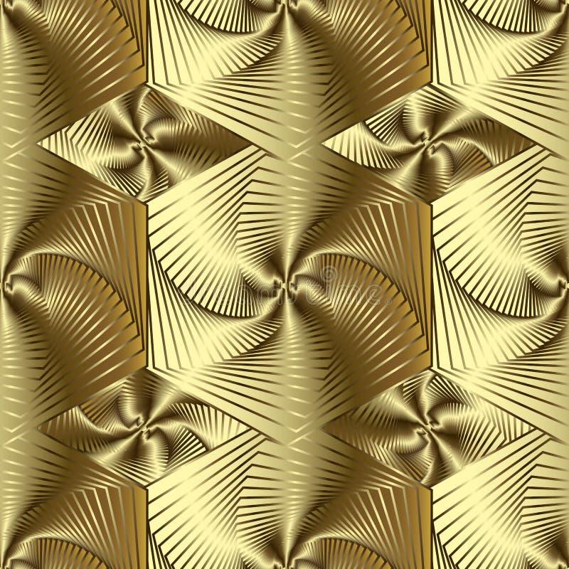 Χρυσό τρισδιάστατο γεωμετρικό διανυσματικό άνευ ραφής σχέδιο τέχνης γραμμών Χρυσό κατασκευασμένο ριγωτό υπόβαθρο επιφάνειας Επανα ελεύθερη απεικόνιση δικαιώματος