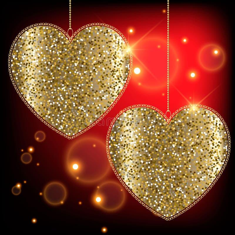 Χρυσό glittery δύο καρδιές αγάπης με τα πλαίσια δαντελλών Κόκκινο καμμένος λαμπρό υπόβαθρο αγάπης επίσης corel σύρετε το διάνυσμα διανυσματική απεικόνιση