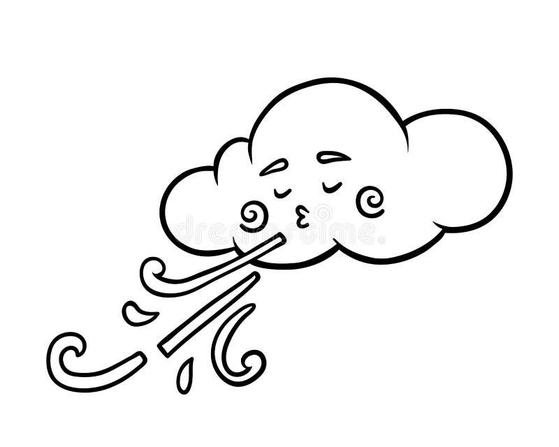 Χρωματίζοντας βιβλίο, σύννεφο και αέρας διανυσματική απεικόνιση