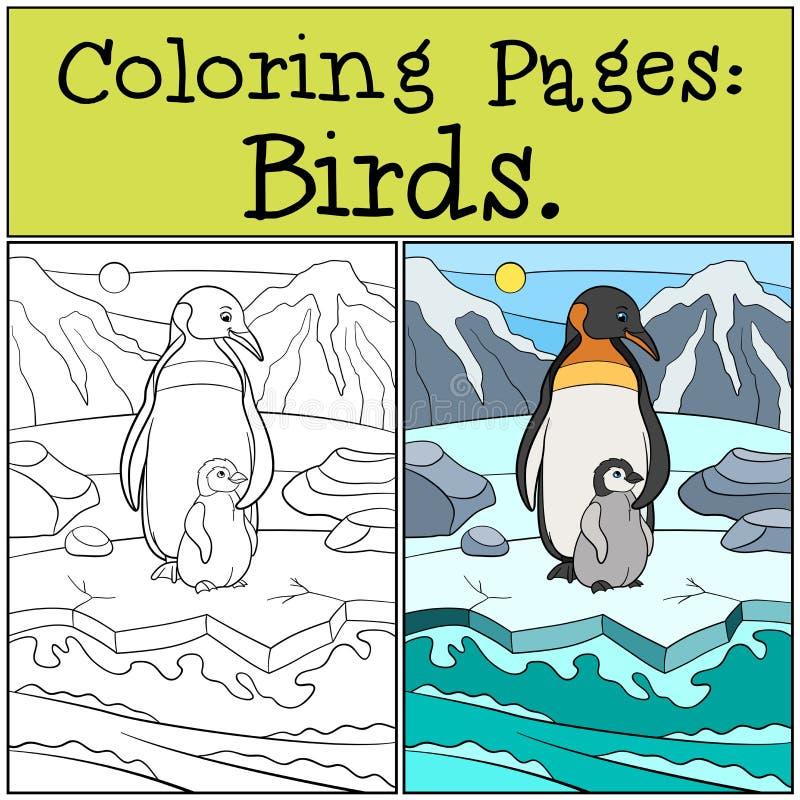Χρωματίζοντας σελίδες: Πουλιά Μητέρα penguin με το μωρό της απεικόνιση αποθεμάτων