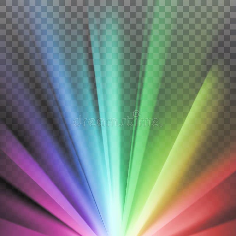 Χρωματισμένες ουράνιο τόξο ακτίνες με τη φλόγα φάσματος χρώματος ελεύθερη απεικόνιση δικαιώματος