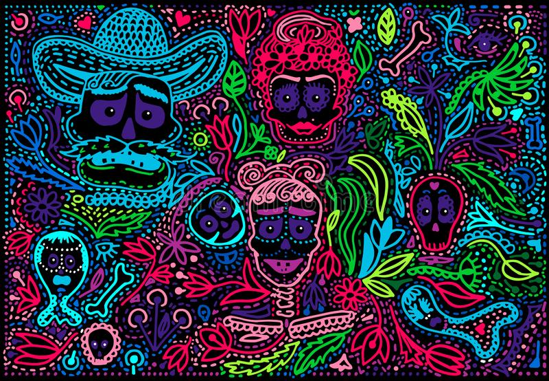Χρωματισμένη ημέρα του νεκρού κρανίου ζάχαρης με τη διακόσμηση απεικόνιση αποθεμάτων