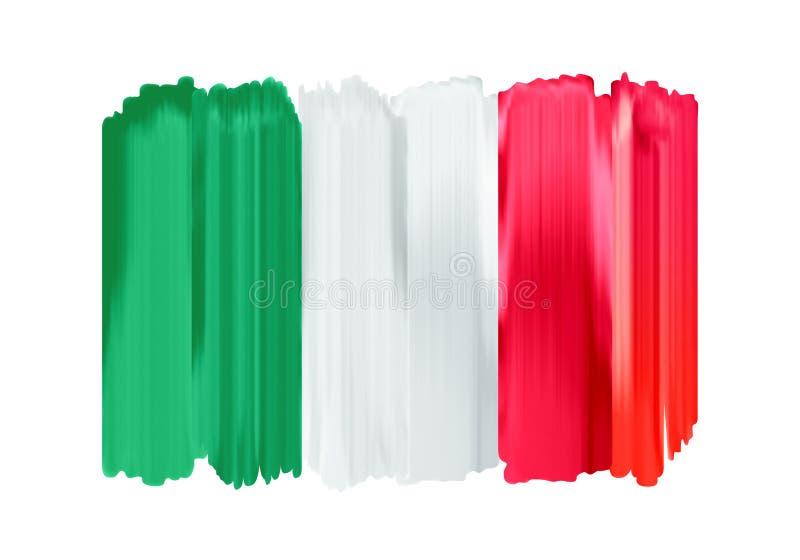 Χρωματισμένη κτυπήματα σημαία βουρτσών της Ιταλίας ζωηρόχρωμη ελεύθερη απεικόνιση δικαιώματος