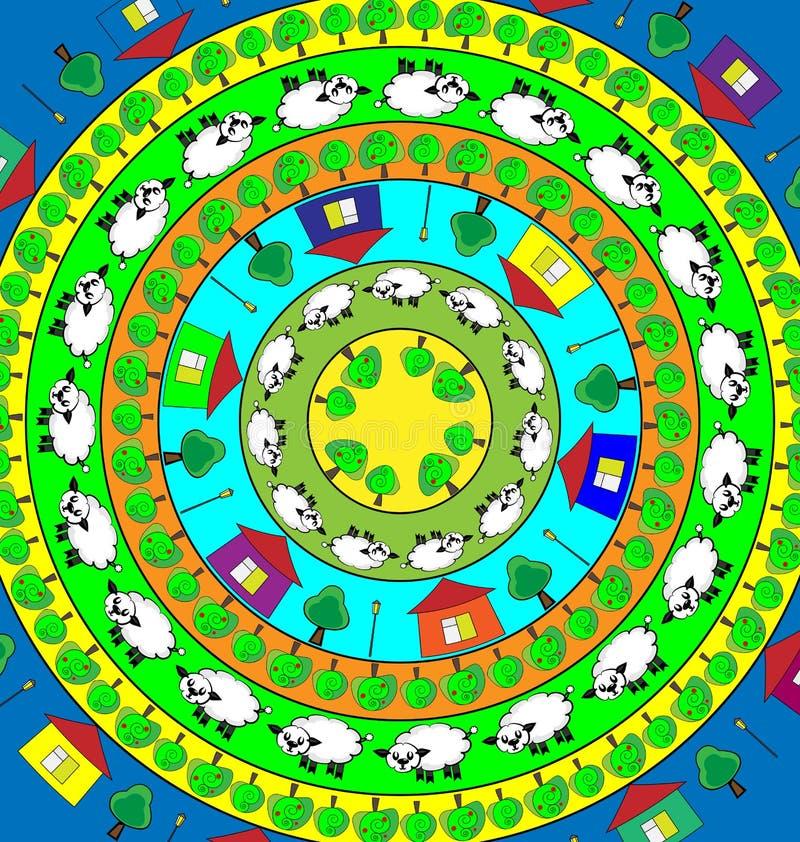 Χρωματισμένη περίληψη εικόνα των αρνιών και του κήπου στο δαχτυλίδι διανυσματική απεικόνιση