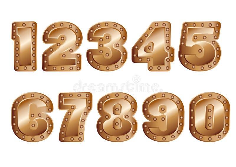 Χρωματισμένοι χαλκός αριθμοί ελεύθερη απεικόνιση δικαιώματος