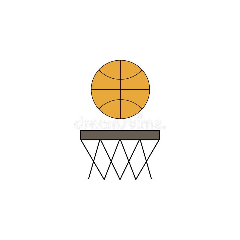 Χρωματισμένο παιχνίδι εικονίδιο καλαθοσφαίρισης κινούμενων σχεδίων Τα σημάδια και τα σύμβολα μπορούν να χρησιμοποιηθούν για τον Ι απεικόνιση αποθεμάτων
