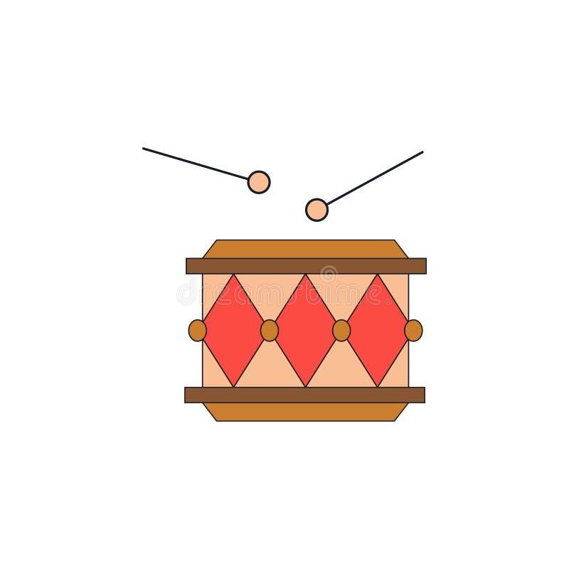 Χρωματισμένο παιχνίδι εικονίδιο τυμπάνων κινούμενων σχεδίων Τα σημάδια και τα σύμβολα μπορούν να χρησιμοποιηθούν για τον Ιστό, λο ελεύθερη απεικόνιση δικαιώματος