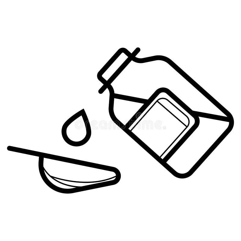 Χύνοντας εικονίδιο σιροπιού μπουκαλιών διανυσματική απεικόνιση
