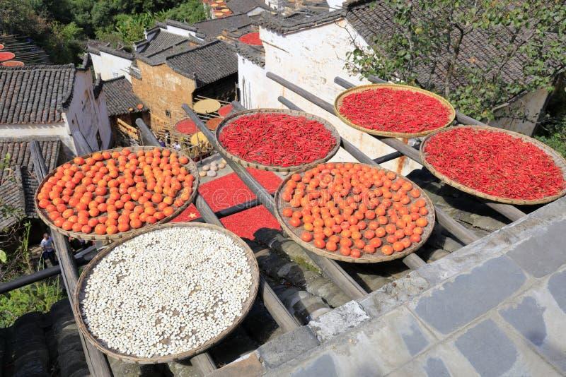 Χωρικοί που ξεραίνουν τα αγροτικά προϊόντα, πλίθα rgb στοκ φωτογραφίες