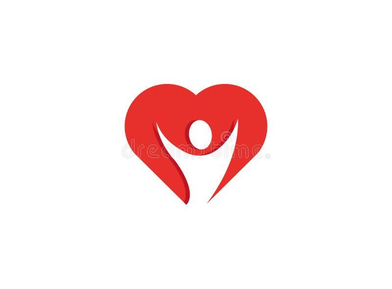 Υγιή ανοικτά χέρια προσώπων μέσα σε ένα λογότυπο καρδιών διανυσματική απεικόνιση