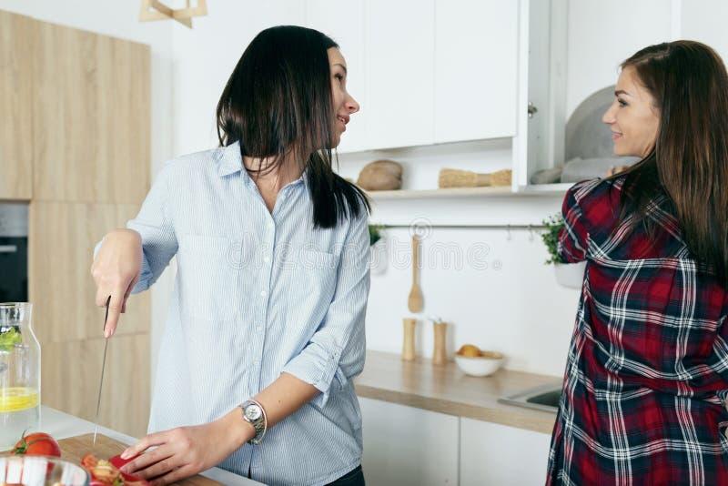 Υγιείς φίλες τρόπου ζωής που μιλούν το φυτικό καλοκαίρι s μαγειρέματος στοκ φωτογραφίες