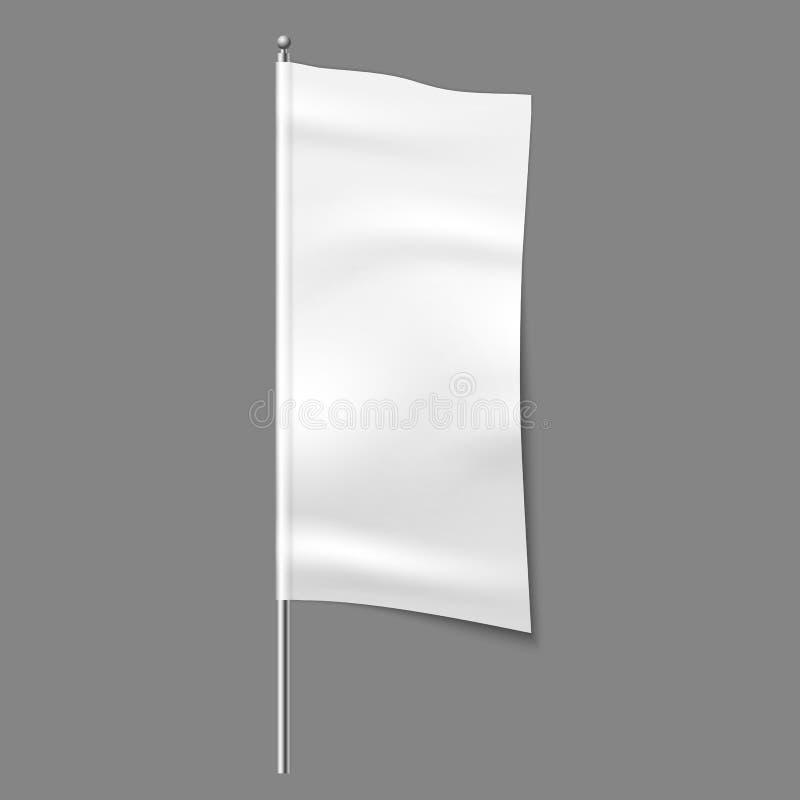 Υφαντική σημαία διαφήμισης Κενό σημάδι υφασμάτων υφάσματος άσπρο κάθετο, υφαντικό διανυσματικό πρότυπο κορδελλών ελεύθερη απεικόνιση δικαιώματος