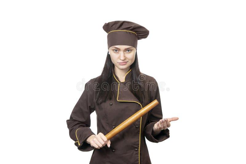 Υπεροπτικός αρχιμάγειρας με την κυλώντας καρφίτσα στοκ φωτογραφία με δικαίωμα ελεύθερης χρήσης