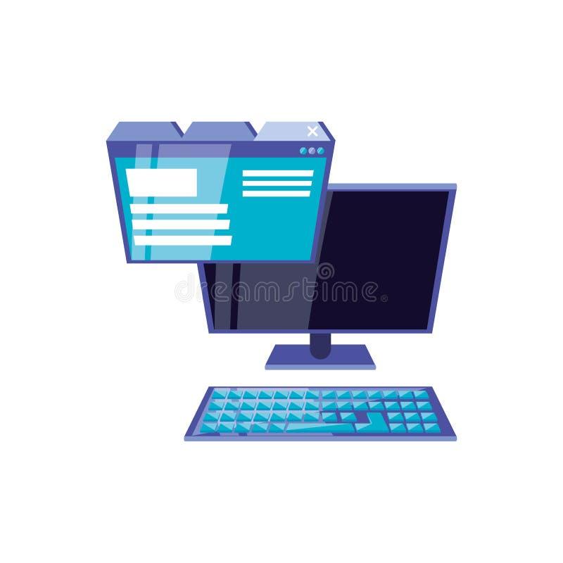 Υπολογιστής γραφείου με ιστοσελίδας ελεύθερη απεικόνιση δικαιώματος