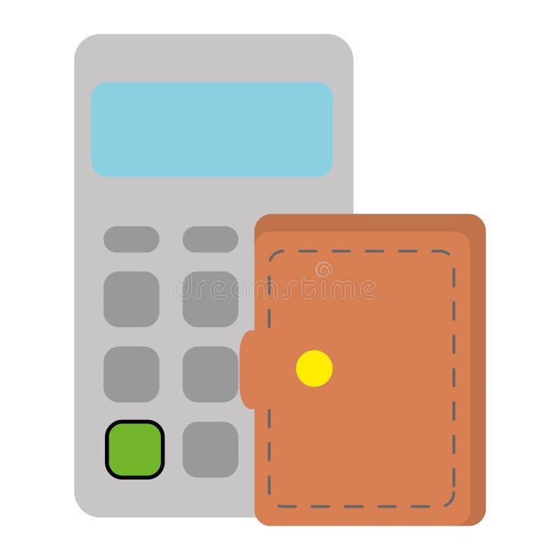 Υπολογιστής math με το πορτοφόλι διανυσματική απεικόνιση