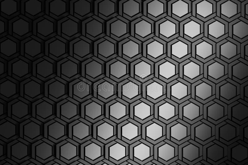 Υπόβαθρο με μεταλλικά δομημένα hexagons επανάληψης διανυσματική απεικόνιση
