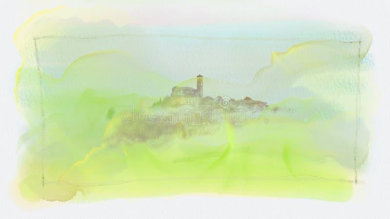 Υπόβαθρο με το χωριό που σκαρφαλώνει στο λόφο στοκ φωτογραφίες