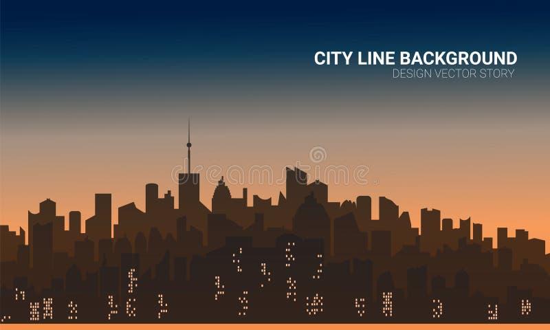 Υπόβαθρο σκιαγραφιών πόλεων ηλιοβασιλέματος Ταπετσαρία οριζόντων με τους ουρανοξύστες στο ηλιοβασίλεμα ή την ανατολή στοκ εικόνα με δικαίωμα ελεύθερης χρήσης