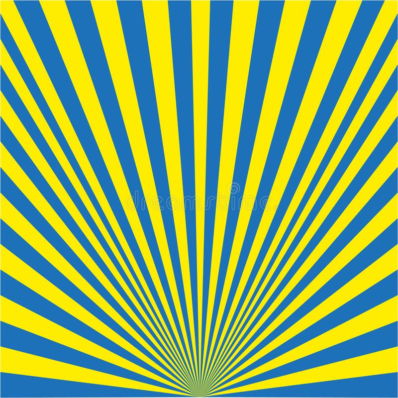 Υπόβαθρο των ακτίνων κίτρινων και μπλε διανυσματική απεικόνιση