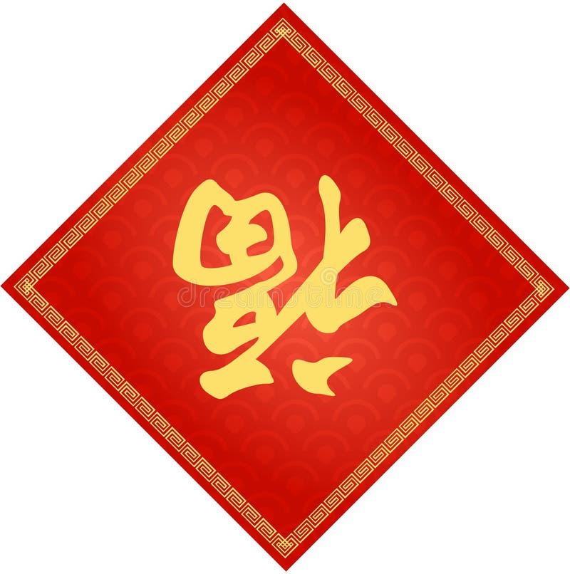 """Υπόβαθρο παραδοσιακού κινέζικου με Kanji """"τύχη """" απεικόνιση αποθεμάτων"""