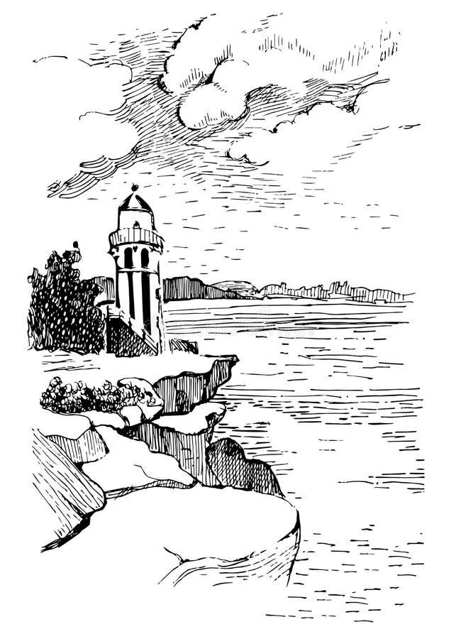 Ωκεάνιο τοπίο με έναν φάρο Συρμένη χέρι απεικόνιση σκίτσων Αφίσα για ένα δωμάτιο των παιδιών Αναγνωριστικό σήμα στον ωκεανό απεικόνιση αποθεμάτων