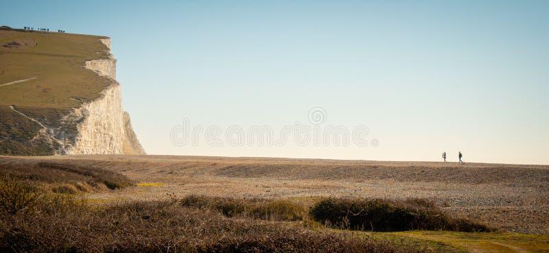 Πάρκο χώρας επτά αδελφών στη νότια παράλια της Αγγλίας κοντά στο Ήστμπουρν στοκ εικόνες