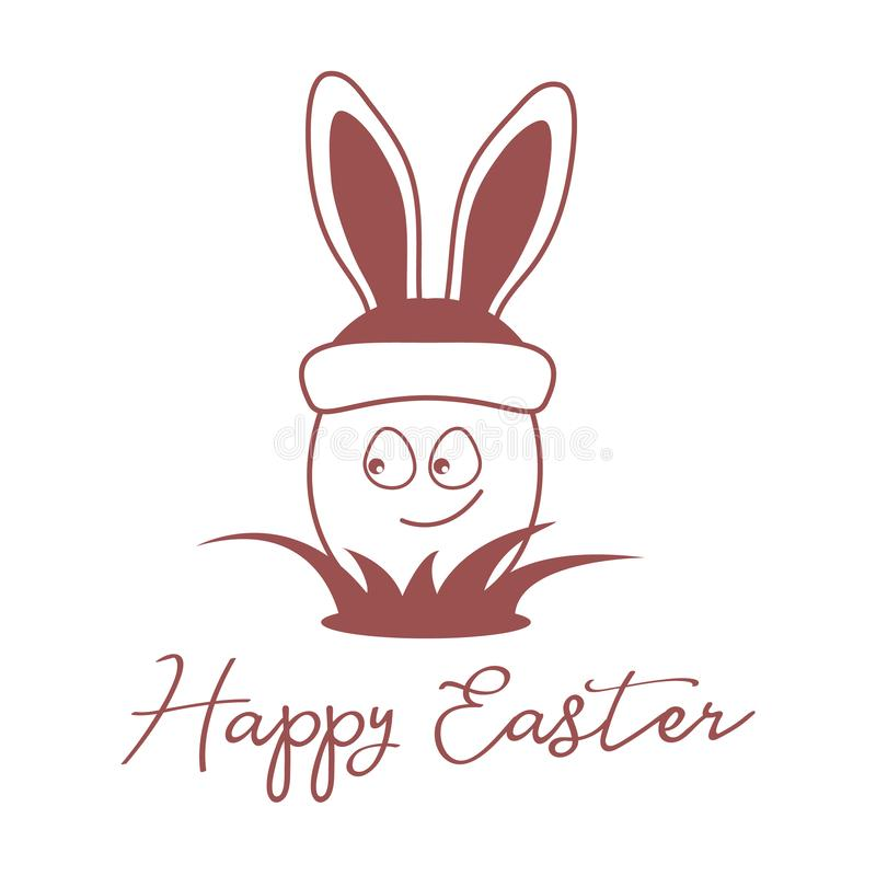 Πάσχα ευτυχές Αυγό, καπέλο με τα αυτιά λαγουδάκι γραμμικός ελεύθερη απεικόνιση δικαιώματος