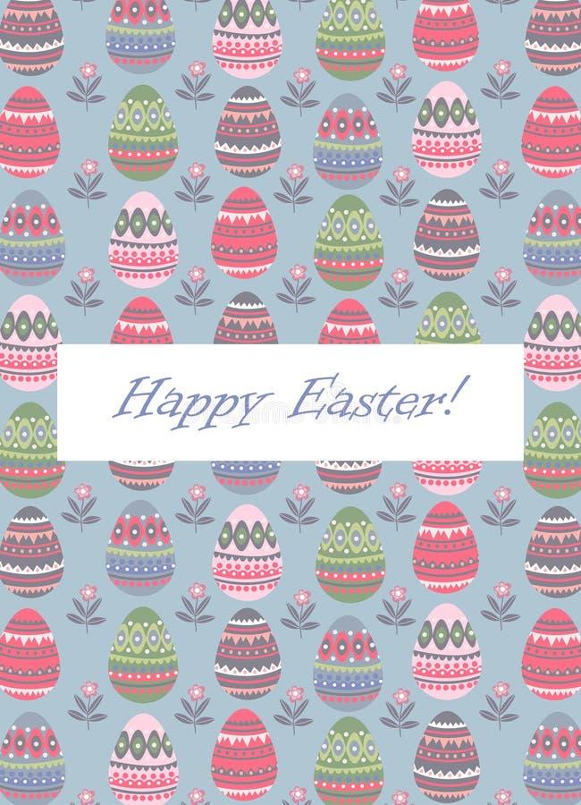 Πάσχα ευτυχές Πρότυπα για τις κάρτες και ιπτάμενα με το επίπεδο χαριτωμένο σχέδιο και το κείμενο αυγών Πάσχας κινούμενων σχεδίων  διανυσματική απεικόνιση