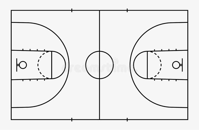 Πάτωμα γήπεδο μπάσκετ με τη γραμμή για το υπόβαθρο Τομέας καλαθοσφαίρισης διάνυσμα απεικόνιση αποθεμάτων