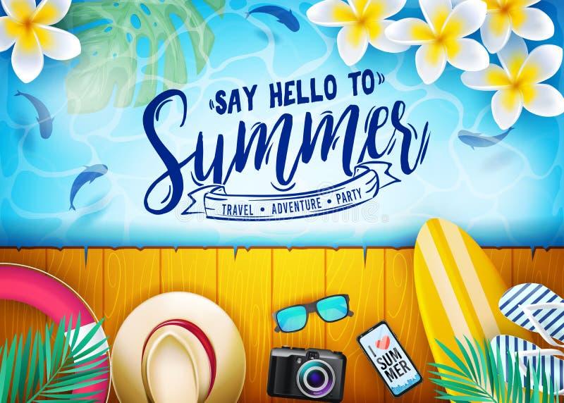 Πέστε γειά σου στο θερινό ταξίδι, περιπέτεια, μήνυμα κόμματος στο σχέδιο αφισών θερινών διακοπών με τα ψάρια διανυσματική απεικόνιση