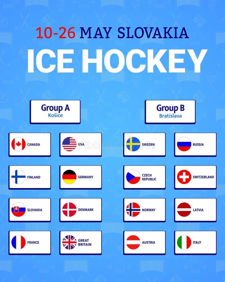 Πίνακας χόκεϋ πάγου ατόμων επίσης corel σύρετε το διάνυσμα απεικόνισης Εικονίδια σημαιών συμμετεχουσών χωρών Πρωτάθλημα 2019 Στάδ διανυσματική απεικόνιση