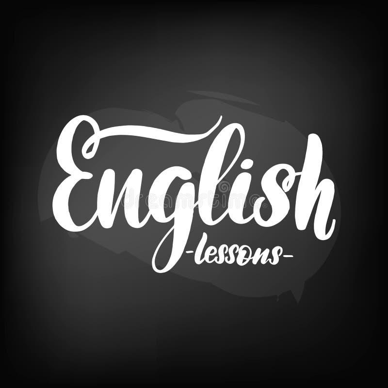 Πίνακας πινάκων κιμωλίας που γράφει τα αγγλικά μαθήματα απεικόνιση αποθεμάτων