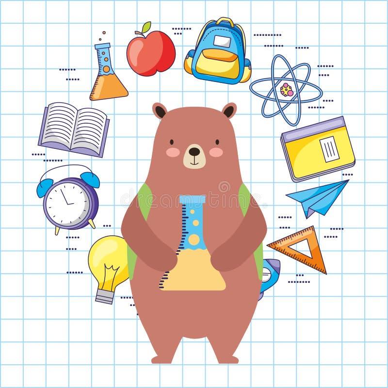 Πίσω κινούμενα σχέδια σχολικών στα χαριτωμένα ζώων απεικόνιση αποθεμάτων