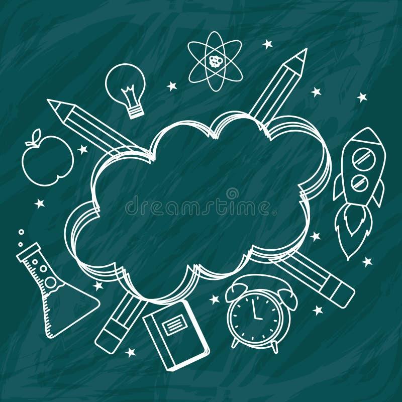 Πίσω στα σχέδια σχολικών πινάκων διανυσματική απεικόνιση