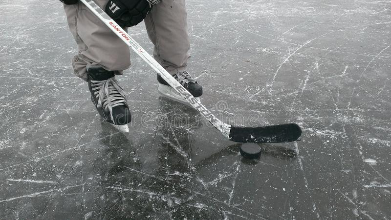 Παίκτης χόκεϋ στον πάγο στοκ εικόνες