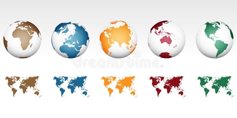 Παγκόσμιος χάρτης - υψηλό λεπτομερές διάνυσμα απεικόνιση αποθεμάτων